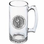 Virginia Tech University Hokies Pewter Accent Glass Super Beer Mug