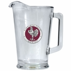 Virginia Tech University Hokies Red Glass Pitcher with Pewter Accent