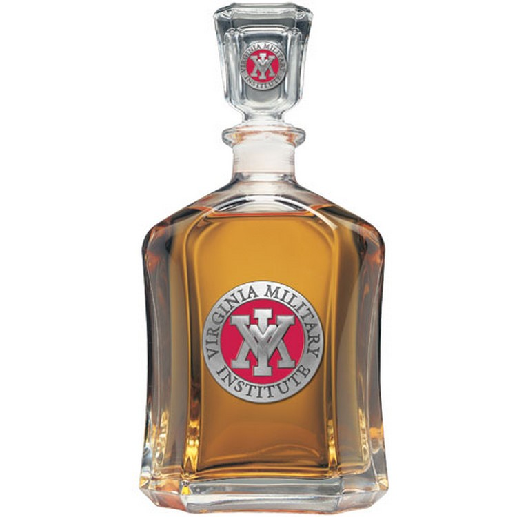 Vmi Keydets Red Capitol Gl Decanter With Pewter Accents