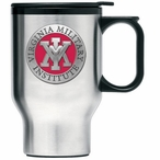 VMI Keydets Red Travel Mug with Handle & Pewter Accent