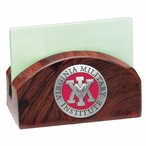 VMI Keydets Red Wood Business Card Holder with Pewter Accent