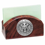 VMI Keydets Wood Business Card Holder with Pewter Accent