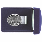 Walking Grizzly Bear Steel Money Clip with Pewter Accent