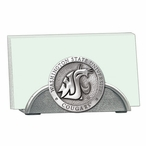 Washington State Cougars Metal Business Card Holder with Pewter Accent
