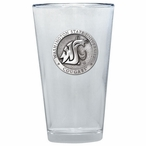 Washington State Cougars Pewter Accent Pint Beer Glasses, Set of 2