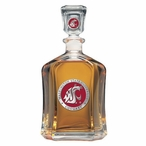 Washington State Cougars Red Capitol Glass Decanter w/ Pewter Accents