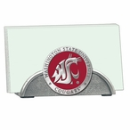 Washington State Cougars Red Metal Business Card Holder with Pewter