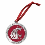 Washington State Cougars Red Pewter Accent Ornaments, Set of 2