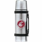 Washington State Cougars Red Pewter Accent Stainless Steel Thermos