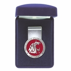 Washington State Cougars Red Pewter Accent Steel Money Clip