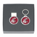 Washington State Cougars Red Pewter Money Clip & Key Chain Gift Set