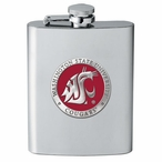 Washington State Cougars Red Stainless Steel Flask with Pewter Accent