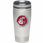 Washington State Cougars Red Stainless Steel Travel Mug with Pewter
