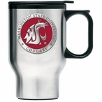 Washington State Cougars Red Travel Mug with Handle & Pewter Accent