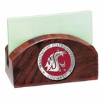 Washington State Cougars Red Wood Business Card Holder with Pewter