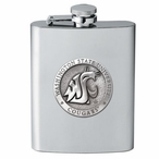 Washington State Cougars Stainless Steel Flask with Pewter Accent