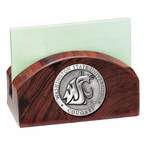 Washington State Cougars Wood Business Card Holder with Pewter Accent