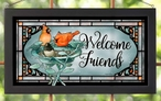 Welcome Friends Cardinal Birds Stained Glass Wall Art