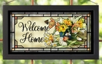 Welcome Home Floral Stained Glass Wall Art