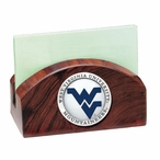 West Virginia Blue Logo Wood Business Card Holder with Pewter Accent