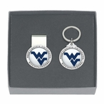 West Virginia Logo Blue Pewter Accent Money Clip & Key Chain Gift Set