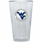 West Virginia Logo Blue Pewter Accent Pint Beer Glasses, Set of 2
