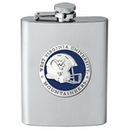 West Virginia Mountaineers Blue Helmet Flask with Pewter Accent