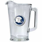 West Virginia Mountaineers Blue Helmet Glass Pitcher w/ Pewter Accent