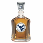 West Virginia Mountaineers Blue Logo Capitol Glass Decanter w/ Pewter