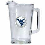 West Virginia Mountaineers Blue Logo Glass Pitcher with Pewter Accent