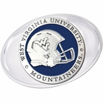 West Virginia Mountaineers Helmet Blue Pewter Accent Paperweight