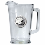 West Virginia Mountaineers Helmet Glass Pitcher with Pewter Accent