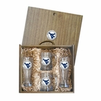 West Virginia Mountaineers Logo Blue Pewter Accent Beer Box Set