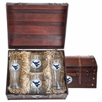 West Virginia Mountaineers Logo Blue Pewter Accent Beer Chest Box Set