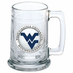 West Virginia Mountaineers Logo Blue Pewter Accent Glass Beer Mug
