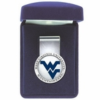 West Virginia Mountaineers Logo Blue Pewter Accent Steel Money Clip