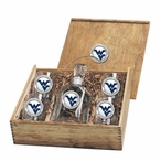 West Virginia Mountaineers Logo Blue Pewter Capitol Decanter Box Set