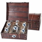 West Virginia Mountaineers Logo Blue Pewter Capitol Decanter Chest Set