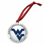 West Virginia Mountaineers Logo Blue Pewter Ornaments, Set of 2