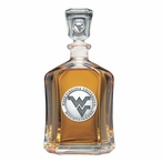West Virginia Mountaineers Logo Capitol Glass Decanter with Pewter