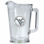 West Virginia Mountaineers Logo Glass Pitcher with Pewter Accent