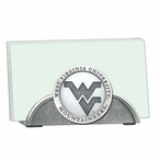 West Virginia Mountaineers Logo Metal Business Card Holder with Pewter