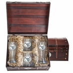West Virginia Mountaineers Logo Pewter Accent Beer Chest Box Set
