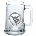 West Virginia Mountaineers Logo Pewter Accent Glass Beer Mug