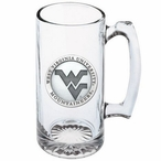 West Virginia Mountaineers Logo Pewter Accent Glass Super Beer Mug
