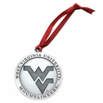 West Virginia Mountaineers Logo Pewter Accent Ornaments, Set of 2