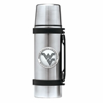 West Virginia Mountaineers Logo Pewter Accent Stainless Steel Thermos