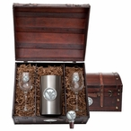 West Virginia Mountaineers Logo Pewter Accent Wine Chest Set