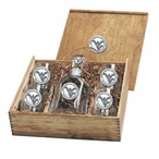 West Virginia Mountaineers Logo Pewter Capitol Decanter Box Set