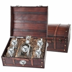 West Virginia Mountaineers Logo Pewter Capitol Decanter Chest Set